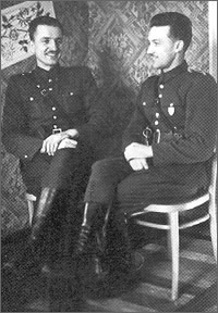"1950. Kazimierz Kamieński, nom de guerre ""Huzar"" [left] and Sergeant Eugeniusz Tymiński, nom de guerre ""Ryś"",of AK-AKO-WiN in the ""Huzar's"" unit. During 1950-1951, ""Ryś"" commanded independent patrol unit. He perished while covering retreat of his soldiers near the village Żachy Nowe in the Wysokie Mazowieckie County."