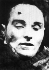 "On December 6, 1946, ""Jeż"" was surrounded by a tactical group of UB / KBW unit near his native village of Zembrzuz, and after being wounded, committed suicide rather than allowing himself to be apprehended by the UB functionaries. Photo taken by Polish secret police, the UB."